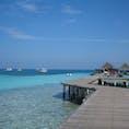 モルディブの青い海と空。 桟橋に行ったらイカご泳いでた。