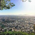 チリ、サンティアゴ。 サン・クリストバルの丘からサンティアゴの街並み。