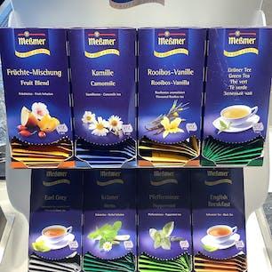 ホテルの朝食のお茶。ドイツはハーブティーの種類がたくさんあります。