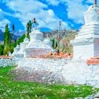 インド、ラダック。 シェイ村のストゥーパ(仏塔)
