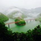 大井川鐵道の奥大井湖上駅🚃 雨のせいで出てきた靄が幻想的💓