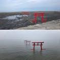 佐賀県多良町 大魚神社の海中鳥居