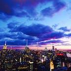 やっぱり最高!ニューヨークの夕暮れ😍 トップオブザロックから望むマンハッタン✨