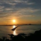 八戸・蕪島神社から見た夕日