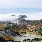 2020.9.29立山登山 雄山から大汝山へ縦走 雲海に大日岳の頂上 地獄谷の噴煙