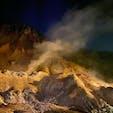 北海道 登別地獄谷の夜で  暗い方が雰囲気あります