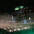夜の草津温泉。 少し肌寒くなってきたため湯気と光がとてもきれいでした。