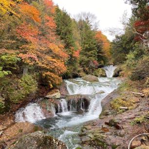 御射鹿池から徒歩10分のおしどりの滝。
