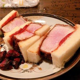 #カツサンド  夜のみ食べられる分厚いカツサンドです。食べ応えがありました(^^)  #京都 #とんかつ清水
