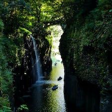 高千穂峡のボート 真名井の滝を間近で見ることができます!ボートは操作に慣れるまでは大変でしたが楽しく散策できました!
