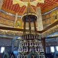 Wat Dhamma Mongkol ワットタンマモンコン 仏舎利塔の14階 厨子の中の黒い器の中にブッダの遺髪とブッダの遺骨(仏舎利)が納められている。