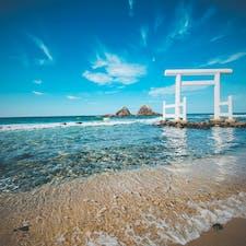 糸島の夫婦岩 @福岡 海が綺麗でした 糸島は映えるスポットがたくさん