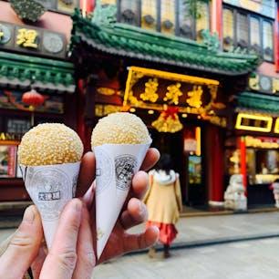 大珍楼(だいちんろう)🍨  横浜中華街にあるお店。 1947年創業だそうで、アイスのような見た目の 胡麻団子が可愛らしい🥰 カリカリモチモチですごく美味しかったです♪