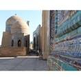 🇺🇿Uzbekistan/Samarkand シャーヒズィンダ廟群 ブルータイルに囲まれて、真っ青な空を見上げると ほっとため息が出る。