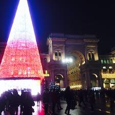 ミラノ ドゥオーモ広場のクリスマスツリー 19年末撮影