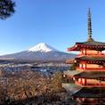 富士山 コレに桜が咲いて居れば、丸で絵葉書で正しくコレが日本です!と言う所が新倉山浅間公園・忠霊塔です。  ですから2021年1月1日の投稿はコレです。僕は富士山と五重の塔を写した時、絶対に、1月1日に掲載と決めて居ました🤗  #富士山 #富士吉田 #新倉山浅間公園 #忠霊塔 #サント芹沢鴨の写真