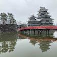 雪の松本城 お堀に映る