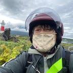 沓形岬(くつがたみさき)灯台 時期は真夏でしたが、寒くて寒くて震えて居ました。ジャンバ-3枚に更に中には雨ガッパを来て居ます。  #全国灯台巡り #サント船長の写真