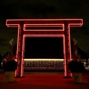 令和神社    #kadokawaculturemuseum  #tokorozawasakuratown #tokorozawa #library #museum #art #artmuseum #reiwa #jinja #nightphoto #武蔵野令和神社 #令和神社 #隈研吾  #角川武蔵野ミュージアム #ところざわサクラタウン