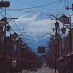 下吉田市街から見る富士山