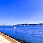 テージョ川から見るヨットとPonte 25 de Abril  #テージョ川 #リスボン #Ponte25deAbril #ポルトガル