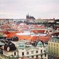 チェコ プラハ 天文時計の展望台からプラハ城 街並みが美しい