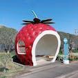. フルーツバス停🍓 いちごのバス停が1番可愛かった🍓