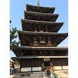 法隆寺 五重塔 ここから撮影すると綺麗に入りますよとお寺の方にアドバイスいただいたのに‥