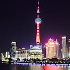 黄浦江から見た東方明珠タワー 20年前はこれが一番高いタワーだったのに