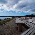 石川県志賀町 世界一長いベンチ  これだけあれば三密の心配は無さそうだ。