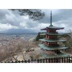 新倉富士浅間神社 桜の満開時かつ天気のいい時にもう一度行きたいな #202103 #s山梨