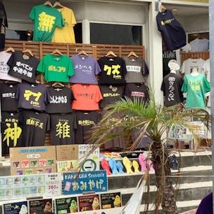 小町通りのお土産Tシャツ屋さん。買う勇気はありませんでした。