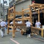 祇園祭り(後の祭り) 祇園祭りには第二部が有り、一部が先祭りで二部が後祭りです、後祭りは18日から山鉾の組み立てが始まりました、此の鉾は大船鉾です。  #サント船長の写真 #後祭り #祇園祭り