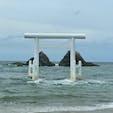 福岡県糸島市 桜井二見ヶ浦  天気はあまり良くなかったけど、鳥居越しに見る夫婦岩は圧巻