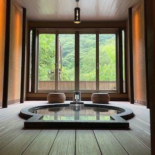 箱根塔ノ沢温泉 山の茶屋  楓のお部屋の半露天風呂。 部屋風呂と思えないくらい広い。そして天気に左右されずに入れるのも良い。