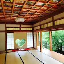 正寿院 猪目窓と天井画  目に入る全ての箇所が綺麗で緑も映え 何時間でも居られる、そんな場所。