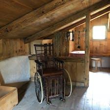 ハイジドルフ(スイス)2018.7.10 ハイジの家のクララの車椅子。 映画に使われたのかな〜。 映画も観なくちゃ。 #nofilter