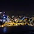 シンガポール マリーナベイサンズ  プールからの夜景