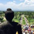 インドネシアジャワ島 ボロブドゥール仏塔 上から