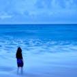 [2018/08] Hawai-O'ahu島、Sunset Beach. サーファーが沢山いました。 シャッター速度を遅くして撮影。