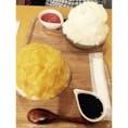 2016.07.24 かき氷工房『雪菓』 安納芋といちごミルク いちごミルクは中にいちごがたっぷり入ってました🍓