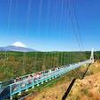 《三島スカイウォーク/静岡》 AM10:00でもこの人の多さ! 400mの日本一長い吊り橋です😊 富士山も雪が積もって、秋晴れの絶景でした。