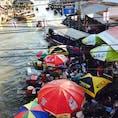 タイのアムパワー水上マーケット 言葉は通じないけど楽しめますね〜