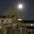 ライトアップされた街並みと満月