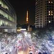 けやき坂のイルミネーション越しに見る東京タワー 冬の風物詩です♪