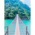 寸又峡・夢の吊り橋  今年の夏に念願の! 本当にエメラルドグリーン! 高所恐怖症だけど、 何とか渡りきりました🙆♀️笑