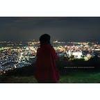 スロープで夜景を見ました。 皿倉山からの北九州市の風景は新日本三大夜景ですよねー