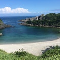 式根島(東京) 新島の隣の島に連絡船で渡りました。 港の岸壁では、ちょうど投げ竿で70センチ位の真鯛を釣り上げている人に遭遇しました。