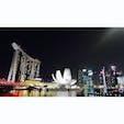 シンガポール。  マリーナベイサンズの光のショーが印象的でした。 きれい。