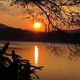 ラオス ルアンパバーン メコンの夕日